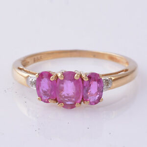 Three Oval Shaped Ruby Wedding Ring 14K Rose Gold Pave Diamond Jewelry Xmas Gift
