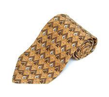 Joseph Abboud Men's Tie Wheat Brown & Gray Geometric Printed Silk Necktie