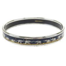 Authentic HERMES Cloisonne Enamel Bangle Bracelet Silver Blue Accessory 64BQ722