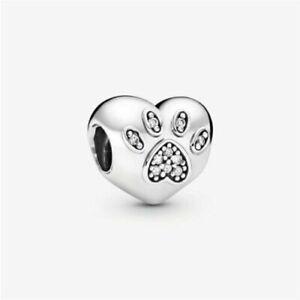 Genuine Pandora I Love My Pet Animal Paw Print with CZ Charm 791713CZ Retired