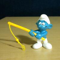 Smurfs 20101 Angler Smurf Fishing Yellow Pole Vintage Figurine PVC Toy Figure