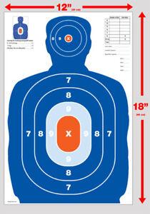 NEW! 25 Orange & Blue  Silhouette gun rifle paper shooting targets 12X18