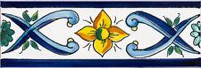 "Handbemalte spanische Bordüre, 5x15 cm, ""Cenefa Manas Azul"", Wandfliese Spanien"