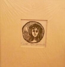 "Girl in City 2 1/2 x 2 1/2 Inch Woodcut- ""Circlet""-16 of 50-1965-William Fiore"