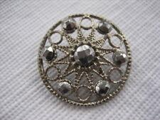 Vintage Medium 1 Inch Brass and Cut Steels Metal Open Work Button - M32