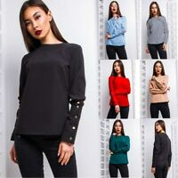 Ladies Women Fashion T-Shirt Chiffon Top Office Lady Blouse Shirt Long Sleeve