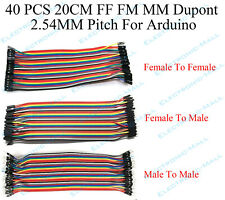 40PCS 20cm 2.54MM FF FM MM Dupont wire jumper cables male to female For Arduino