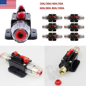 50A Sywan 12V Circuit Breaker with Manual Reset,Inline Fuse Inverter for Car Marine Boat Bike Stereo Audio