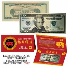 2019 Chinese Lunar YEAR of the PIG Lucky Money $20 US Bill - S/N Starts With 888