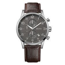 Hugo Boss reloj 1512570 aeroliner señores chronograph cuero marrón reloj pulsera de fecha