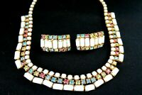 Vintage Milk Glass W Pastel Rhinestones Set Necklace & Clip Earrings Prong Set
