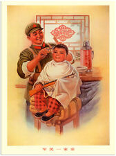 RETRO VINTAGE STYLE CHINESE BOY GETTING HAIRCUT RED ARMY ART PRINT 30X40CM