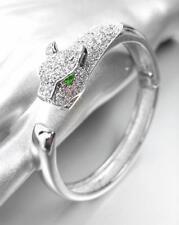 LUXURIOUS Designer 18kt White Gold Plated CZ Crystals Leopard Cuff Bracelet 0650