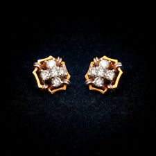 Pave 0.73 Carats Natural Diamonds Stud Earrings In Fine Hallmark 18K Yellow Gold