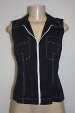 Ellen Tracy Company Black Zip Front Vest White Stitching & Zipper Size 4