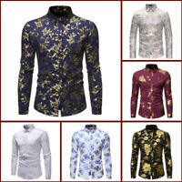 Shirt Floral Casual Stylish Long Sleeve Top Dress Shirts Slim Fit Mens Luxury