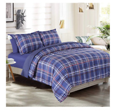 New Blue Plaid Stripe Full / Queen size Comforter Set Bed in a Bag Sheets Cases
