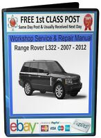 RANGE ROVER L322 WORKSHOP SERVICE & REPAIR MANUAL 2007 - 2012 On CD - FREE POST
