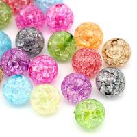 PD: 50 Mix Klar Acryl Krackle Spacer Perlen Beads Basteln 12mm
