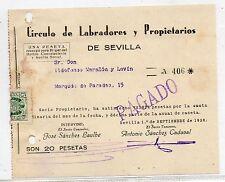 Recibo del Circulo de Labradores de Sevilla del año 1938 (DA-931)