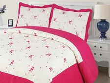 Empire Home Xenia 3-Piece Quilted Bedspread Embroidered Cotton Touch Hot Pink
