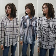 LOT 3 WOMENS BUTTON UP PLAID Shirts ~ SANCTUARY, BB DAKOTA, MADEWELL ~ LARGE