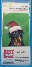 Rottweiler Christmas Santa Hat Indoor Outdoor Flag Barbara Van Vliet