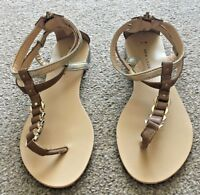 Ladies New Look Brown Gold Sandals Summer Beach Holiday Size 5 SB7