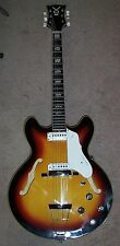1966 Vox Super Lynx electric hollow body guitar sunburst with original hard case
