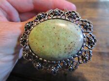 Vintage Gaspeite Cuff Metal Bracelet Wonderful Large Oval Stone