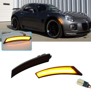 Smoked Amber LED Front Sidemarker Lamps For 06-10 Pontiac Solstice & Saturn Sky
