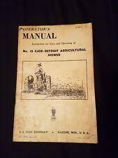 Original J.I. CASE No. 15 Case-Detroit Agricultural Mower Operators Manual