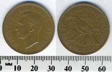 New Zealand 1950 - 1 Penny Bronze Coin - King George VI - Tui bird