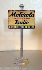 WEATHERED METAL LAYOUT DIORAMA POLE  SIGN MOTOROLA RADIO 1 x 1.5 INCH