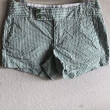 Banana Republic Womens Shorts Spring Summer Ryan Fit Green white stripes Sz 2