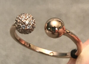 PANDORA Rose Polished & Pave Bead Open Ring Size 56 - 188316CZ-56 AUTHENTIC  NEW