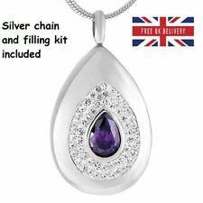 Purple Diamante Keepsake Jewellery Cremation Urn Pendant Ashes Necklace Memorial