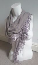 Lovely Grey Brown Triangle Shape Scarf With Crochet And Beads Details
