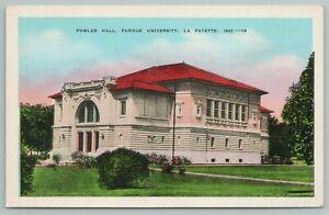 La Fayette Indiana~Fowler Hall~Purdue University~Vintage Postcard