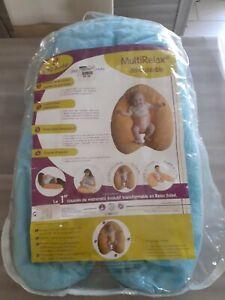 Multirelax Coussin d'allaitement  bleu avec sa housse de protection