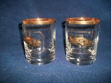 2 Vintage ANTIQUE CAR 1951 ROADSTER Gold Rimmed Cocktail Whisky Water Glass