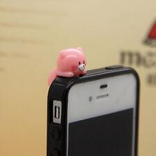 New 3.5m Cute Pink Smiling Teddy Bear Anti-Dust Proof phone plug Charm
