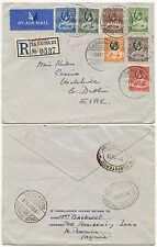GOLD COAST to IRELAND WHARF POSTMARK IMPERIAL AIRMAIL 1938 REGISTERED..ZARIA Res