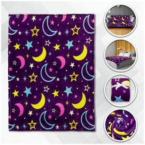 Moon & Stars Plush Blanket 50x60 Cute Kid's Blanket Purple Throw Blanket Space