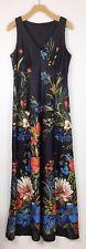 Vtg Floral Black Sleeveless Long Maxi Dress Boho Hippie Mod Womens Size Small