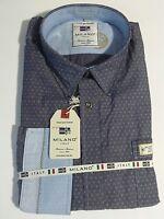 MILANO ITALY Langarm Hemd Gr. XL 43/44 Blau  Muster Kentkragen