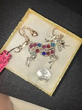 Betsey Johnson Necklace UNICORN Crystals Silver GIFT BOX
