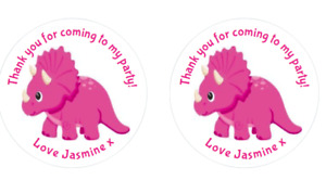24 Round Pink dinosaur cute set 2  Birthday Party Stickers Sweet Cones Bags