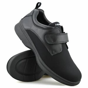 Mens Leather Wide Fit Memory Foam Casual Smart Walking Work Trainers Shoes Size
