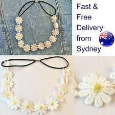 Daisy headband - 12 small decorative white flowers flower head band elastic